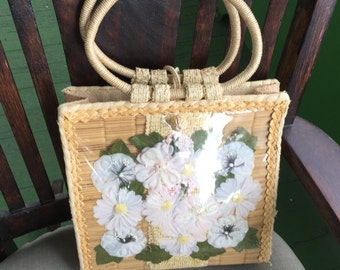 Vintage 1950's straw floral handbag made in Philippines