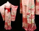 High Quality! Japanese Kimono Robe / Vintage Silk Kimono Furisode / Embroidery / Wedding Kimono / 041501