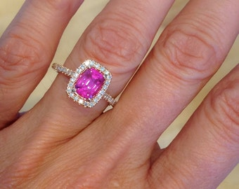 Rose Gold Engagement Ring 18k GOLD Cushion Cut Pink Sapphire and Natural Diamond Halo Engagement Ring Wedding, Anniversary, Fashion Ring