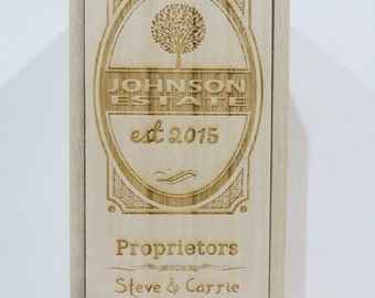 Personalized Wooden Wine Boxes - Custom Engraved
