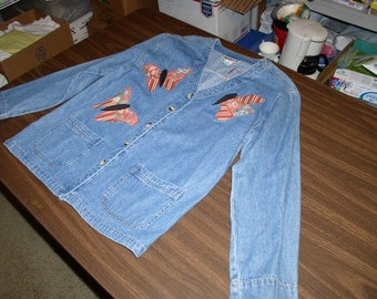 Vintage Light Weight Stonewashed Denim Jacket by Haik's with New Four Dragon Fly Appliqué by Emanuel's Wearable Art.