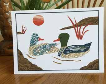 Mallards Card, Duck Card, Bird Card, cut paper art, whimsical, anniversary card, ducks, mallards