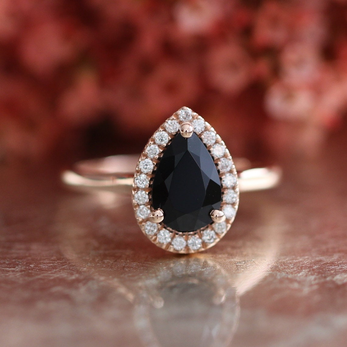 14k Rose Gold Pear Cut Engagement Ring in Halo Diamond Ring