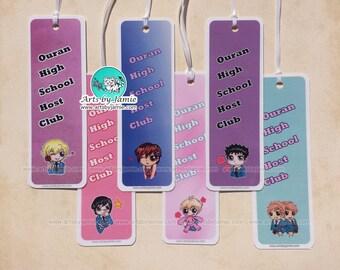 Ouran High School Bookmarks, Anime Chibi Tamaki, Haruhi, Hitachiin Twins, Mori, Kyouya, Hikaru, Hunny, Kaoru, Kyoya