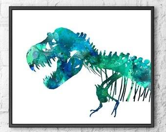 T-Rex print, dinosaur print, dinosaur bones, blue green kids art, watercolor dinosaur, dino print, dinosaur art, watercolor print  - 286
