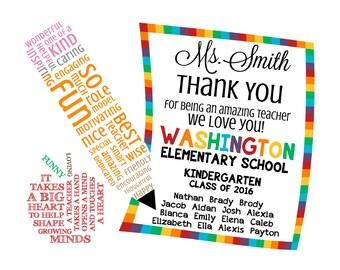 Teacher Appreciation Note. Word Art. Digital Image. DIY Printable