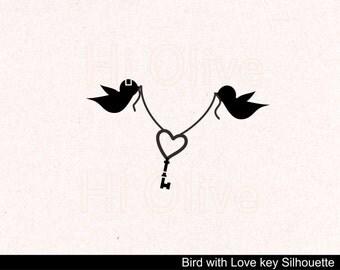 svg birds clip art, wedding Silhouette clip art, birds with love keys clip art, valentines clip art, bird silhouette, instant download