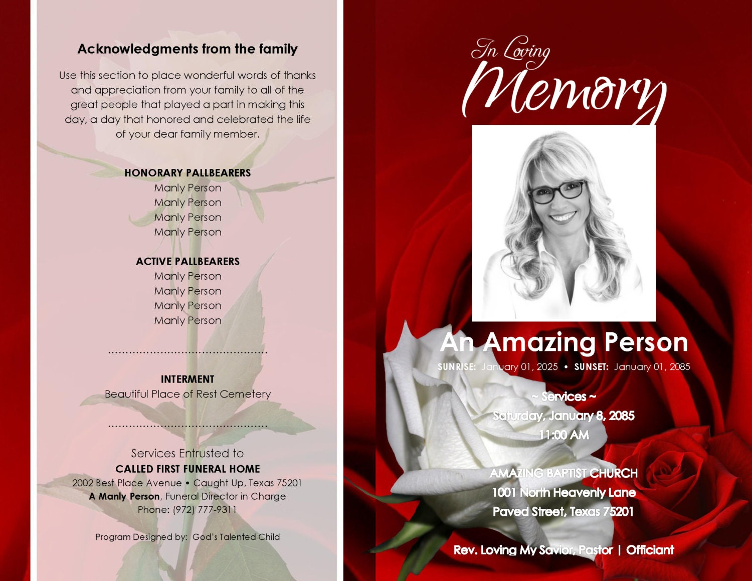 red and white roseville     printable funeral program