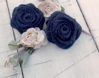 Burlap Roses -  Burlap Flowers - Navy Blue Burlap Flowers - Table Decoration - Wedding Decoration - Cake Topper - Set of 20