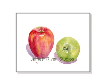 Apple Watercolor Painting Apple Art Print Red Apple Painting Green Apple Print Fruit Art Apple Kitchen Art Apple Fruit Painting Fruit Print.