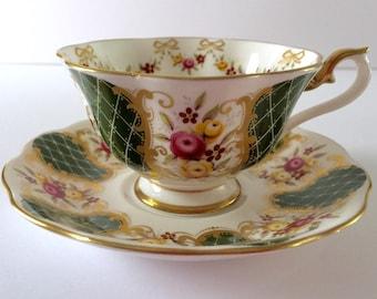 "Royal Albert Green""Marie Louise""  Tea Cup & Saucer Duo"