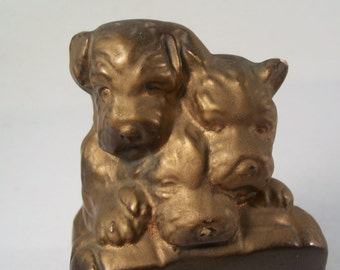 Triplet Puppies Bookend Ceramic        S942