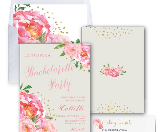 Bachelorette Party Invitation // Grey // Gray // Peonies // Peony// Bridal // Pink // Gold Glitter // BORDEAUX COLLECTION
