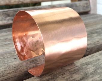 Hammered Elegance Copper Cuff Bracelet for Medium to Large Wrists  | Customized Bracelet | Ehnic Bracelet | Boho Bracelet | Wide Cuff
