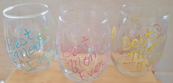 Best Mom Ever Hand Painted Wine Glass
