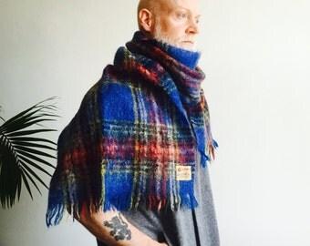 Blue Plaid Mohair Wool Scarf