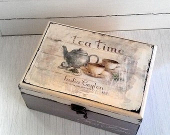 Tea Decoupage Box-Shabby Chic-Distressed-velvet-grey-cream color