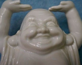 Ceramic; Laughing Buddah; Approx. 4 x 6 Inches; Smooth Glaze !!!