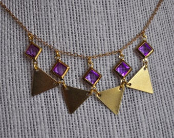 Brass and lucite necklace