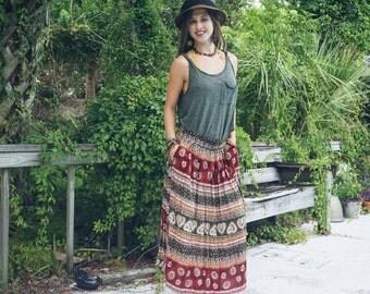 Down to Earth tribal maxi skirt / festival skirt