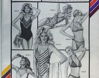 1980's Stretch and Sew 1374 Vintage V-Neck Swimsuit Mailot & Bikini Ann Person size 30-46 uncut