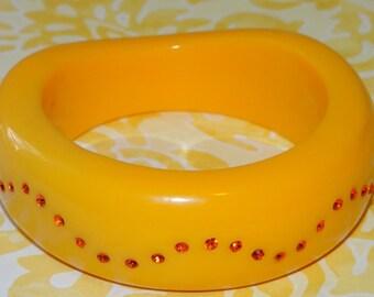 Bangle Bracelet Orange Wave with Orange Rhinestones in Wave Pattern