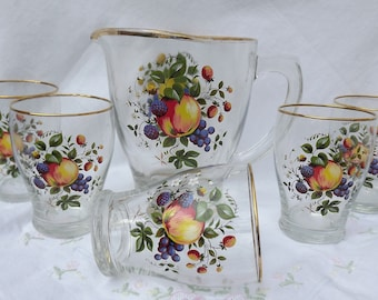 Vintage beautiful Summer Punch Glass Jug + 5 Glasses