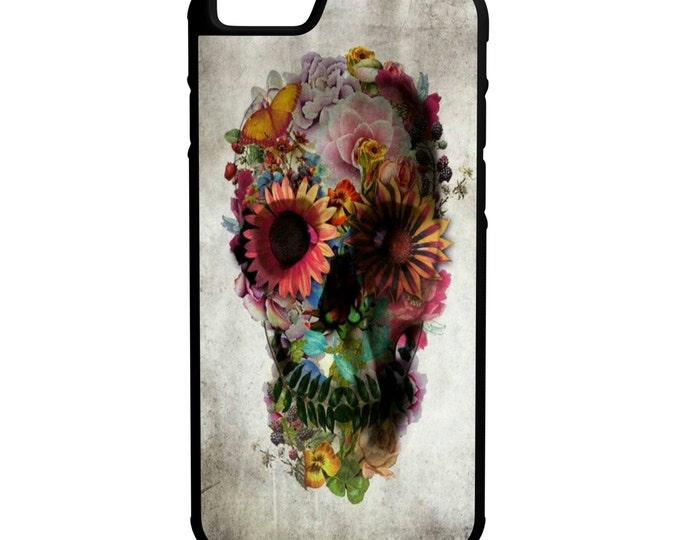 Skull Flowers iPhone Galaxy Note LG HTC Hybrid Rubber Protective Case