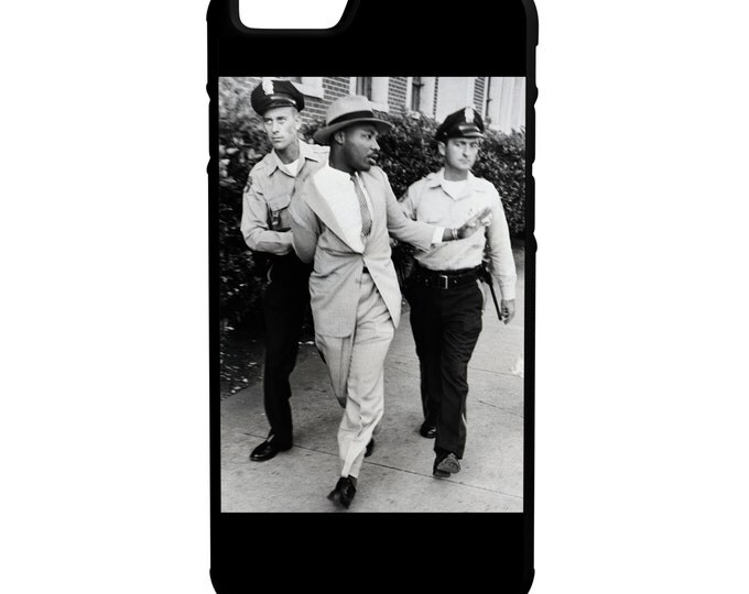 Martin Luther King Jr Being Arrested iPhone Galaxy Note LG HTC Protective Hybrid Rubber Hard Plastic Snap on Case Black