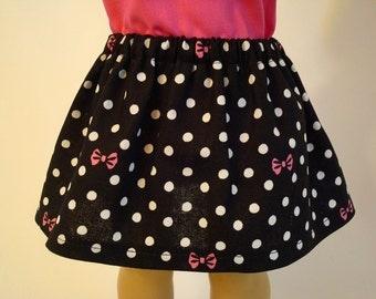Black Polka Dot Skirt for American Girl Doll and 18-inch Dolls – Pink Bow Skirt