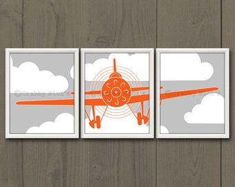 8x10 (3) NURSERY AIRPLANE PRINTS - Nursery Art, Nursery Decor, Children's Art - Vintage Airplane, Aviation