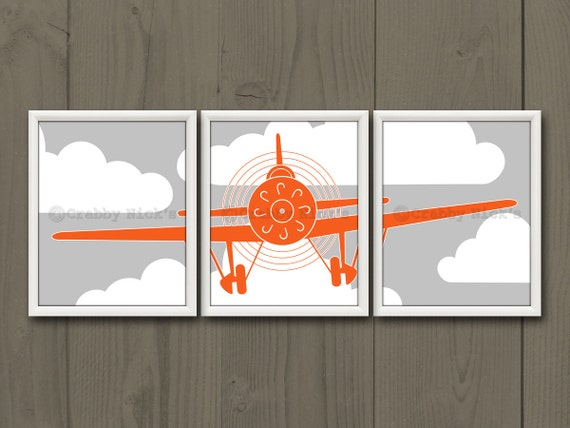 8x10 3 Nursery Airplane Prints Nursery Art Nursery Decor