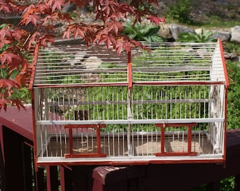 Vintage Wood And Metal Handmade Rectangular Bird Cage