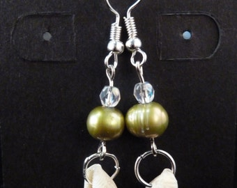 Green Fresh Water Pearl and Sea Shell Earrings