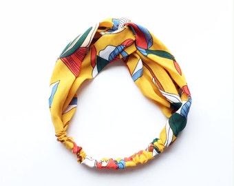 Phyllis Fabric Headband - Turban headband - Art Nouveau print - Boho headband - Womans headband - Adult headband - Yellow fabric headband