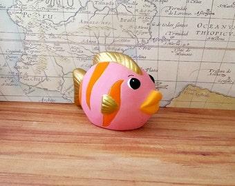 Pink and Gold Fish Piggy Bank, Fish Piggy Bank, Piggy Bank, Pink Piggy Bank, Gold Piggy Bank, Baby Bank, Baby Piggy Bank, Nursery Decor