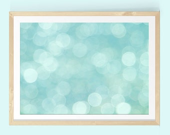 Blue Abstract Art, Large Abstract Art, Abstract Wall Art, Abstract Print, Bokeh, Pastel Abstract Art, Turquoise Wall Art, Boho Decor