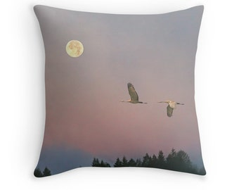 Bird Home Decor, Moon Pillow, Bird Cushion, Moon Cushion, Bird Throw Pillow, Cranes, Sunrise, Full Moon, Dawn, Nature Decor, Wildlife Pillow