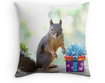 Birthday Pillow, Squirrel Pillow, Funny Birthday Gift, Birthday Present, Birthday Cushion, Happy Birthday, Birthday Gift,Cute Birthday Gifts