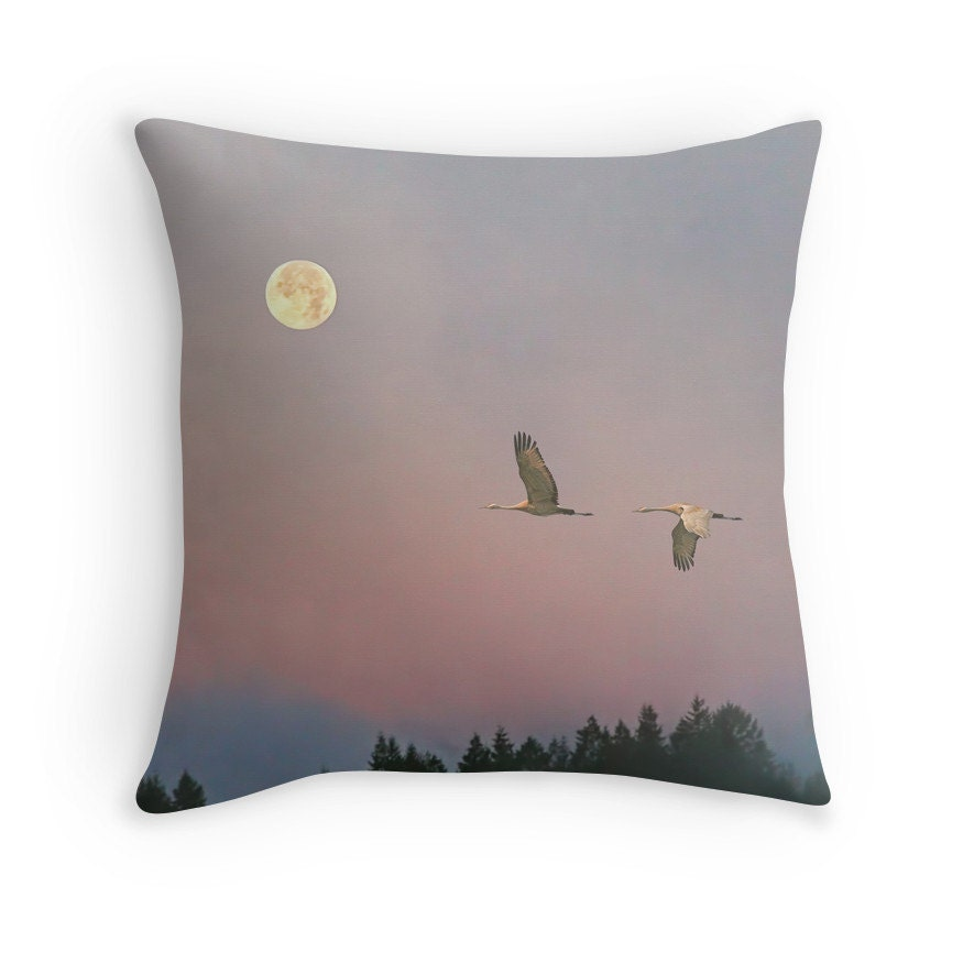 Bird Home Decor Moon Pillow Bird Cushion Moon Cushion Bird