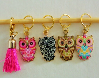 Snag-free Stitch Marker Set Owl Tassal  Charms Removable Markers