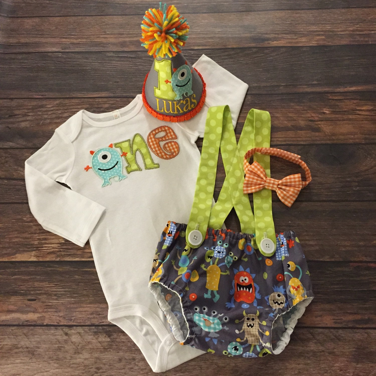 Monster First Birthday Boy Outfit Onesie Diaper By