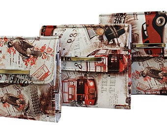 London wallet, vintage style wallet, big ben wallet, women pocket wallet, women mini wallet, women small wallet, women compact wallet
