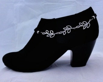Boot accessories chains, Silver and black leather lacings, Boot bracelet, Trailing Leaves