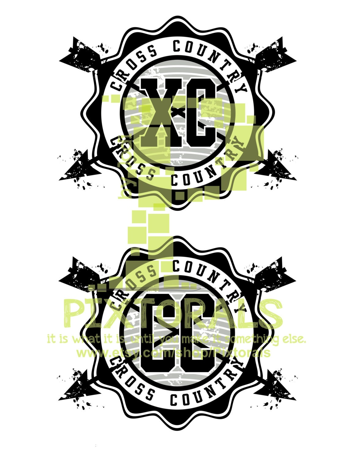 cross country vector xc cc medallion logo eps file