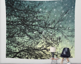 wall tapestry, large size forest tapestry, dorm tapestry, bohemian wall tapestry, nature tapestry, star tapestry, blue decor