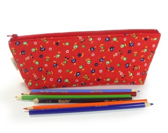 Pencil Case - Kawaii Flowers - Floral - Red - Cute Pencil Case - Lined - Turquoise - Cosmetic Bag - Zipper Bag - Travel Pouch
