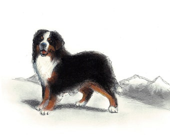 Bernese Mountain Dog Vintage Style Print