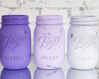 Purple Ombre Mason Jars - Purple Wedding Decor - Lavender Party Decor - Lavender Wedding Centerpieces - Purple Baby Shower