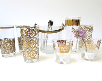 Collection of Mid Century Modern Barware - 8 Piece set  5 Tumbers - 2 Low Balls - Ice Bucket - Gold Accents - Assorted Glassware